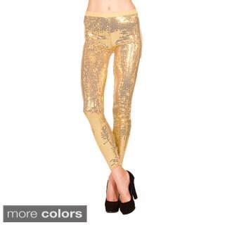 Just One Women's Full Length Sequin Embellished Dance Leggings