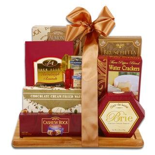 Alder Creek Burgundy & Gold Cutting Board Gourmet Food Gift Set