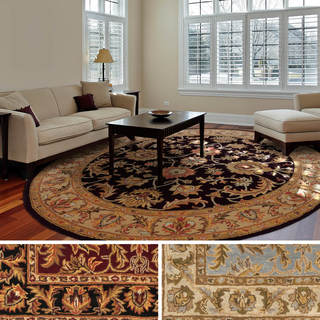 Hand-Tufted Ollie Traditional Border Rug (6' Round) - 6'