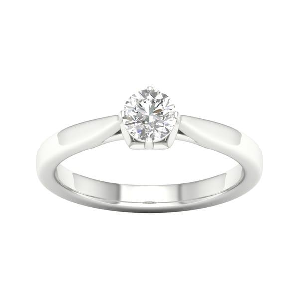 e91cdde07ed94 Shop De Couer 14k White Gold 1/2ct TDW Round Cut Solitaire Diamond ...