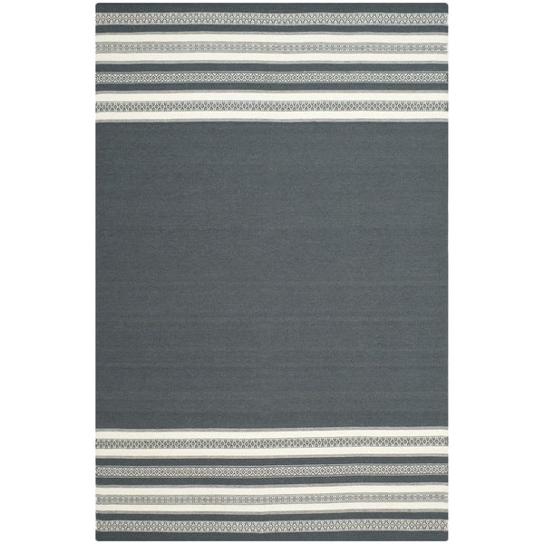 Safavieh Hand-woven Dhurries Dark Grey Wool Rug - 8' x 10'