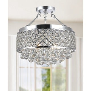 Silver Orchid Taylor Chrome and Crystal Semi Flush Mount Chandelier