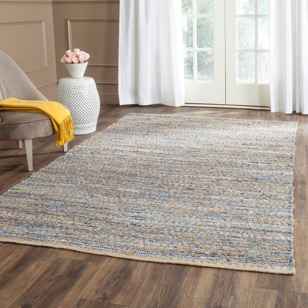 Safavieh Cape Cod Handmade Natural / Blue Jute Natural Fiber Rug - 9' x 12'
