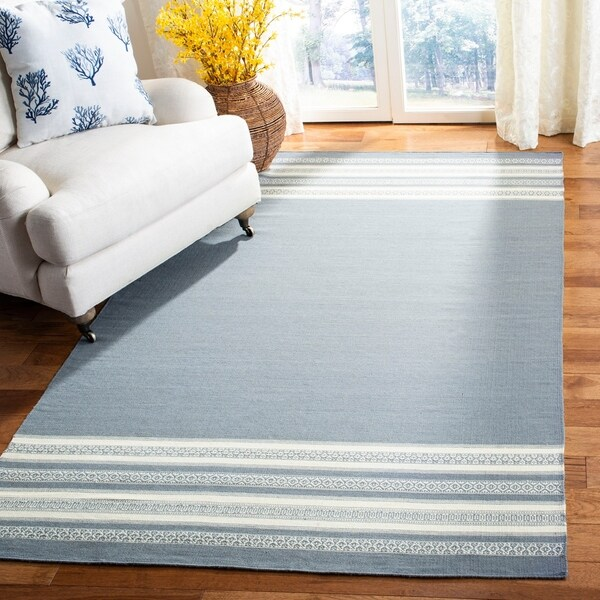 Safavieh Hand-woven Dhurries Grey Wool Rug - 8' x 10'