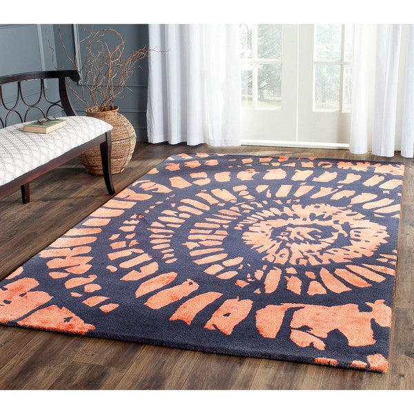 Safavieh Handmade Capri Modern Abstract Steel/ Blue Wool Rug (8' x 10')