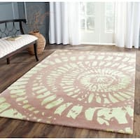 Safavieh Handmade Capri Modern Abstract Plum/ Mist Wool Rug - 5' x 8'