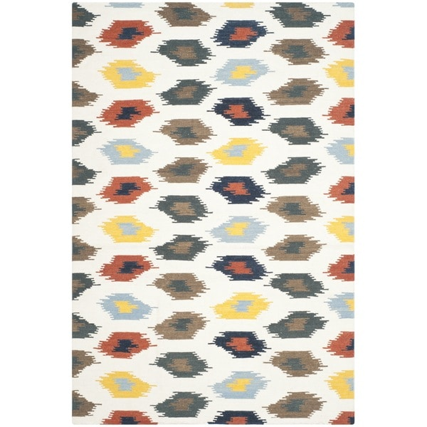 Safavieh Hand-woven Dhurries Ivory/ Multi Wool Rug - 8' x 10'