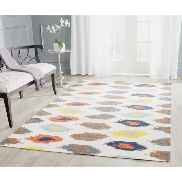 Safavieh Hand-woven Dhurries Ivory/ Multi Wool Rug - 8' x 10'