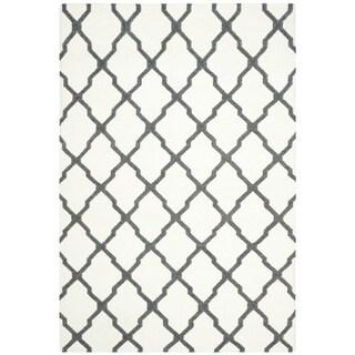 Safavieh Hand-woven Dhurries Ivory/ Charcoal Wool Rug (8' x 10')