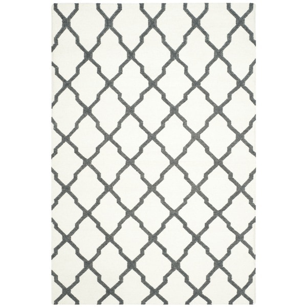Safavieh Hand-woven Dhurries Ivory/ Charcoal Wool Rug - 8' x 10'