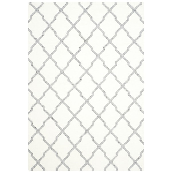 Safavieh Hand-woven Dhurries Ivory/ Grey Wool Rug (8' x 10')