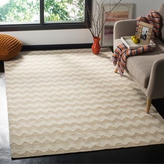 Safavieh Hand-woven Dhurries Beige/ Ivory Wool Rug (8' x 10')
