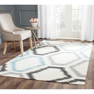 Safavieh Hand-woven Dhurries Ivory/ Multi Wool Rug (5' x 8')