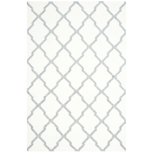 Safavieh Hand-woven Dhurries Ivory/ Grey Wool Rug (5' x 8')