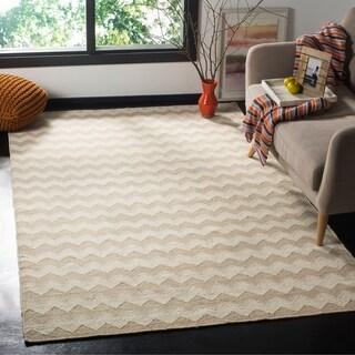 Safavieh Hand-woven Dhurries Beige/ Ivory Wool Rug (5' x 8')