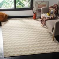 Safavieh Hand-woven Dhurries Beige/ Ivory Wool Rug - 5' x 8'