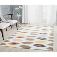 Safavieh Hand-woven Dhurries Ivory/ Multi Wool Rug - 6' x 9'