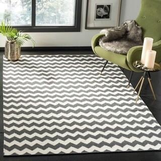 Safavieh Hand-woven Dhurries Ivory/ Charcoal Wool Rug (6' x 9')