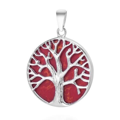 Handmade Nature Mystical Tree of Life Stone Round .925 Silver Pendant (Thailand)
