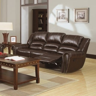Furniture of America Harv Bonded Leather Reclining Sofa