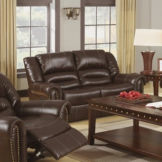 Furniture of America Harv Bonded Leather Reclining Loveseat