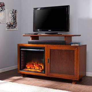 Harper Blvd Hayes Walnut and Espresso Media Fireplace