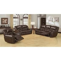 Furniture of America Harv 3-Piece Bonded Leather Sofa Set
