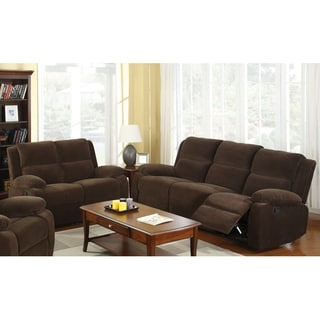 Furniture of America Borrison 2-Piece Dark Brown Flannelette Recliner Sofa Set