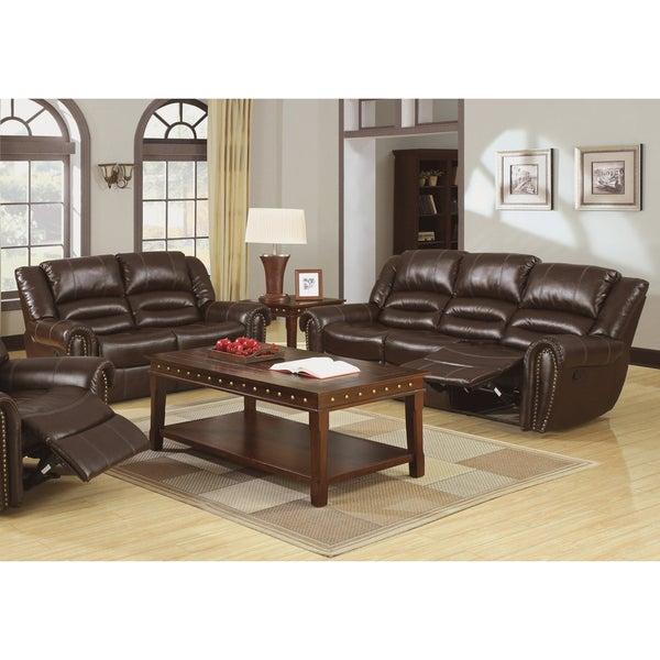 Leather Sofa Sets Online: Shop Furniture Of America Harv 2-piece Brown Bonded