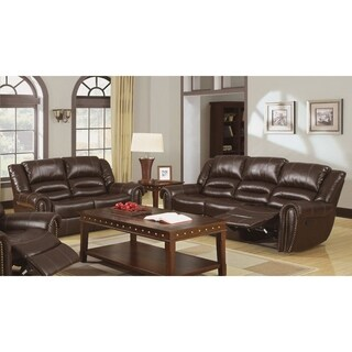 Furniture of America Harv 2-piece Brown Bonded Leather Sofa Set