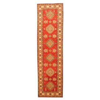 Herat Oriental Afghan Hand-knotted Tribal Kazak Red/ Ivory Wool Rug (2'8 x 9'10)