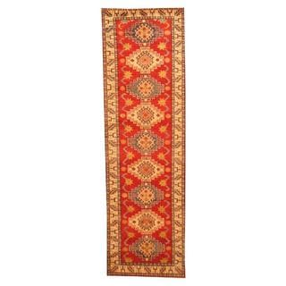 Herat Oriental Afghan Hand-knotted Tribal Kazak Red/ Ivory Wool Rug (2'9 x 9'2)