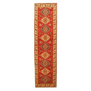 Herat Oriental Afghan Hand-knotted Tribal Kazak Red/ Ivory Wool Rug (2'8 x 10'2)