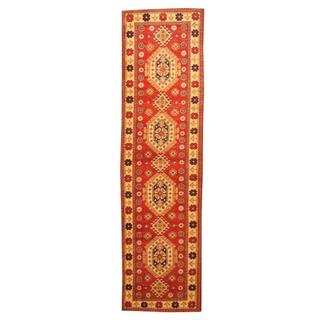 Herat Oriental Afghan Hand-knotted Tribal Kazak Red/ Ivory Wool Rug (2'7 x 9'9)