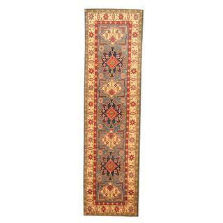 Herat Oriental Afghan Hand-knotted Tribal Kazak Light Blue/ Ivory Wool Rug (2'6 x 9'2)