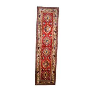 Herat Oriental Afghan Hand-knotted Tribal Kazak Red/ Ivory Wool Rug (2'8 x 9'10)