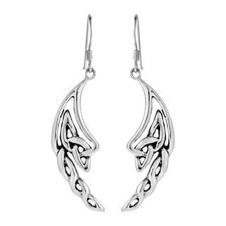 Handmade Celtic Knotted Angel Wings .925 Silver Dangle Earrings (Thailand)