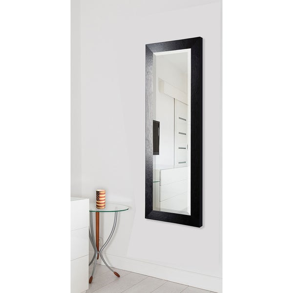 American Made Rayne Black Leather 26.5 x 64.5-inch Full Body Mirror - black