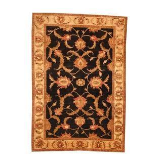 Herat Oriental Afghan Hand-knotted Vegetable Dye Oushak Black/ Ivory Wool Area Rug (6' x 8'6)