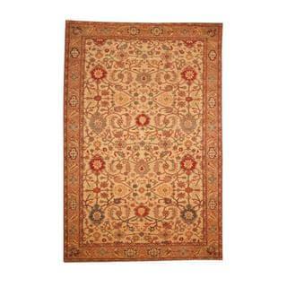 Herat Oriental Afghan Hand-knotted Vegetable Dye Oushak Ivory/ Beige Wool Area Rug (6' x 9')