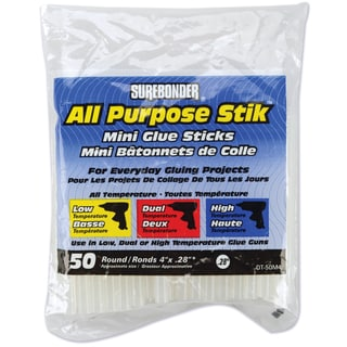 "All Purpose Stik Mini Glue Sticks-.28""X4"" 50/Pkg"