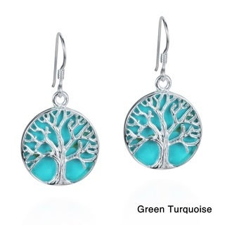Mystical Tree of Life Stone Inlay .925 Silver Earrings (Thailand)