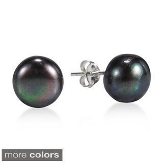 Handmade Elegant Round Black Pearl Sterling Silver Stud Earrings (Thailand)