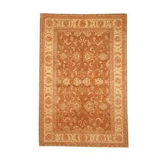 Herat Oriental Afghan Hand-knotted Vegetable Dye Oushak Brown/ Ivory Wool Area Rug (5'7 x 8'4)