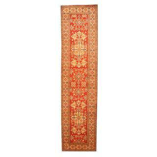 Herat Oriental Afghan Hand-knotted Tribal Kazak Red/ Ivory Wool Rug (2'8 x 11')
