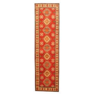Herat Oriental Afghan Hand-knotted Tribal Kazak Red/ Ivory Wool Rug (2'7 x 9'4)