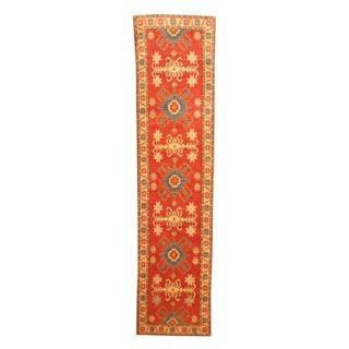 Herat Oriental Afghan Hand-knotted Tribal Kazak Red/ Ivory Wool Rug (2'7 x 10'7)