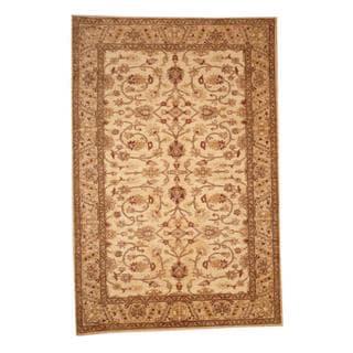 Herat Oriental Afghan Hand-knotted Vegetable Dye Oushak Ivory/ Beige Wool Area Rug (6' x 8'9)