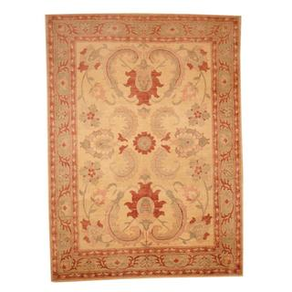Herat Oriental Afghan Hand-knotted Vegetable Dye Oushak Ivory/ Green Wool Area Rug (6'2 x 8'5)