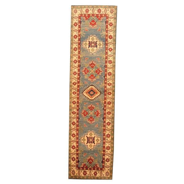 Herat Oriental Afghan Hand-knotted Tribal Kazak Light Blue/ Ivory Wool Rug (2'7 x 10'2)